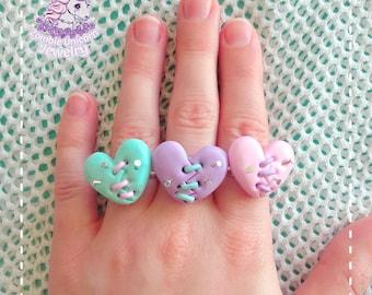 Franken-heart rings menhera pastel goth creepy cute