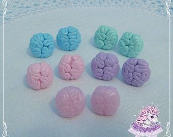 Creepy brains earrings pastel goth creepy cute