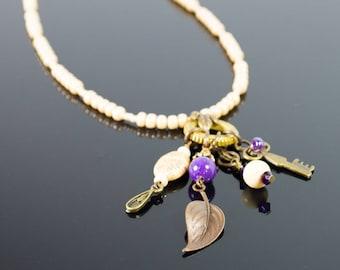 Purple and Cream Steampunk Necklace