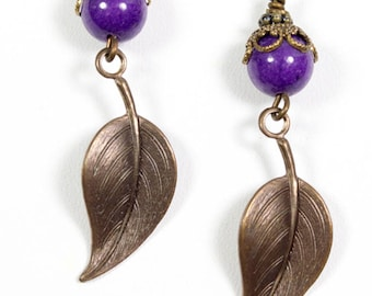 Purple and leaf earrings