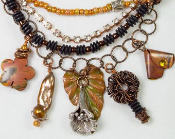 Autumn Shades with Rhinestones and Sterling Necklace