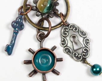 Lock and Key Teal Steampunk Necklace