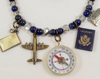 Traveler's Necklace with Compass