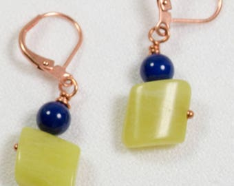Lapis and New Jade Earrings