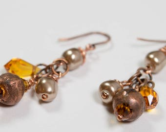 Crystal, copper and pearl earrings