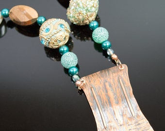 Hand forged copper with teal sparkle necklace