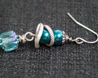 Gunmetal and Teal Steampunk Earrings