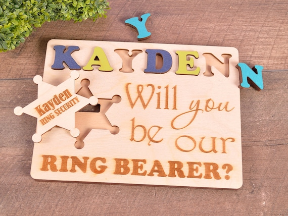 Wedding Will you be our Ring Bearer Gift Ring Security Page Boy Personalized with Names RING BEARER Puzzle Jigsaw Puzzle White