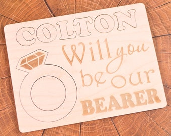Will you be my Puzzle Ring bearer Ring bearer gift Ring security gift card Ringbearer gift Wooden puzzle Be our ring bearer Wedding proposal