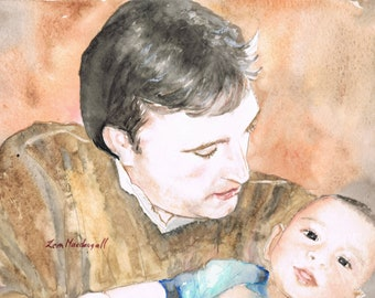 Fathers Day Custom watercolour portrait