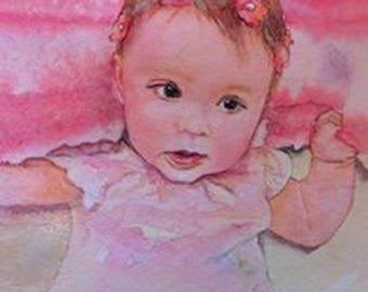 Customom Baby Portraits in Watercolor
