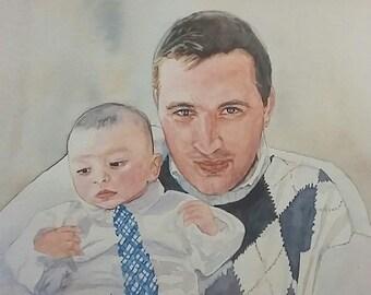 "FATHER""S DAY Custom Watercolour portrait"
