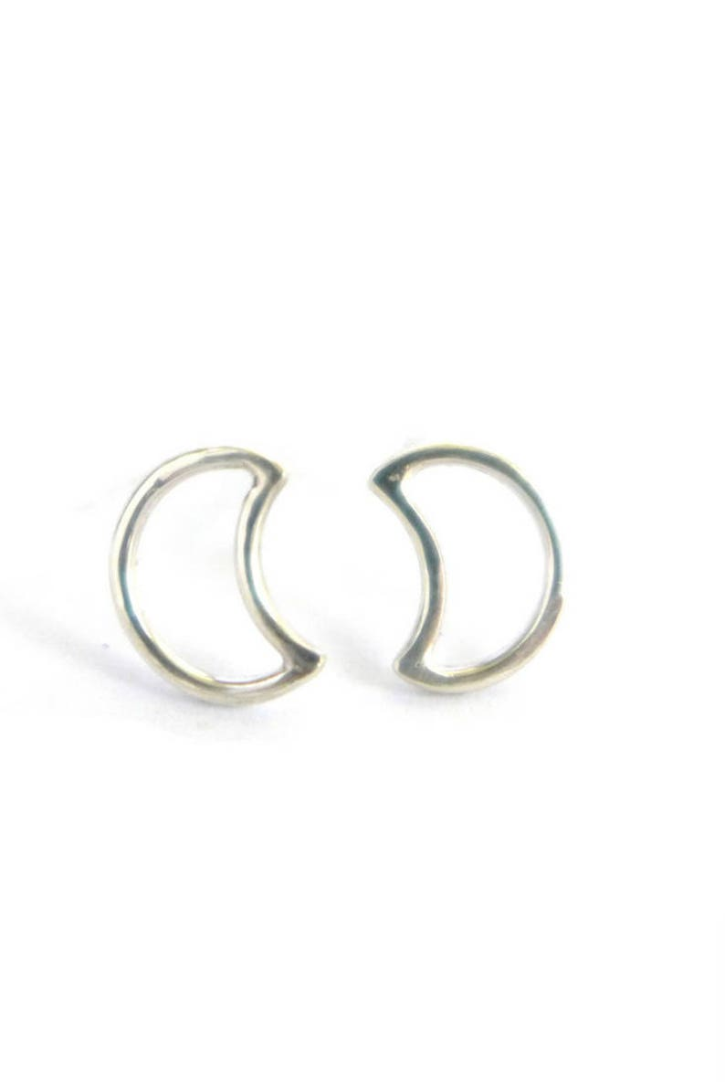 Crescent Moon Studs Sterling Silver Earrings Gifts Under 30 image 0