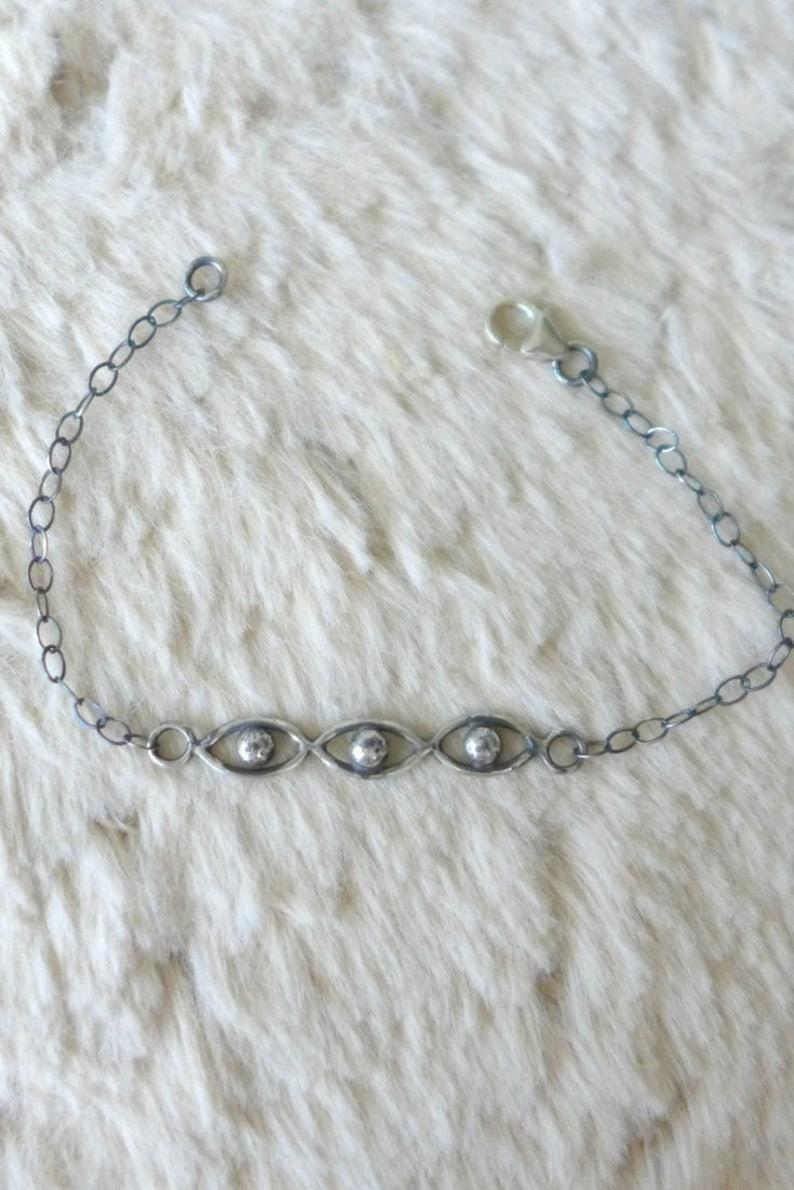 Third Eye Bracelet  Sterling Silver Evil Eye Talisman image 0