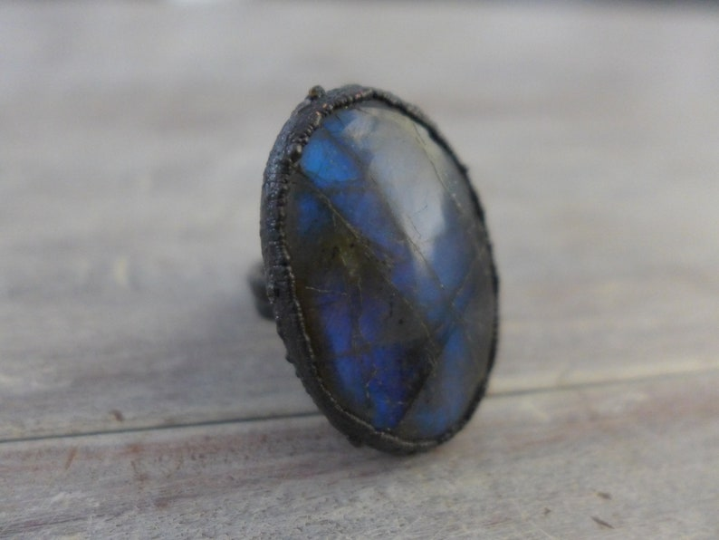 Blue Labradorite Ring Oxidized Copper Electroformed Blue image 0