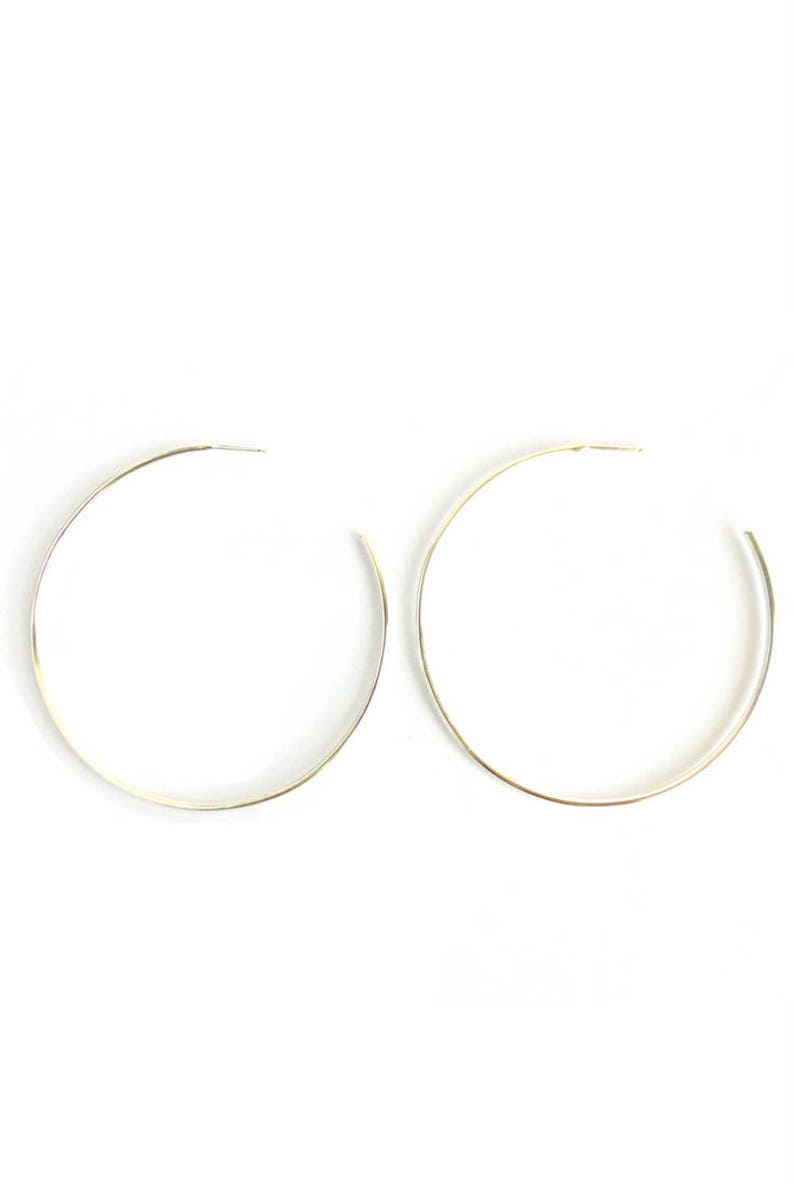 2 Silver Hoops Large Hoops Gifts Under 50 Thin Silver image 0