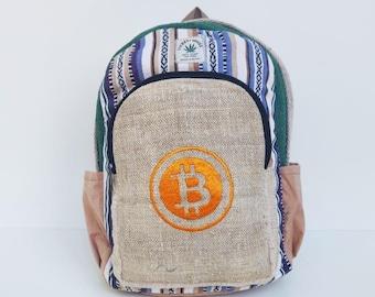 Bitcoin Hand Embroidered Hemp Backpack