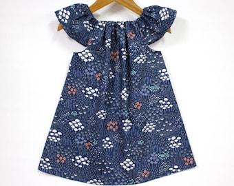 Organic cotton baby dress, baby girl dress, organic baby dresses, organic dress, organic kids clothes,organic baby, navy, Midnight Flora