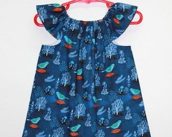 organic cotton baby dress, baby girl dress, organic baby dresses, organic dress, organic kids clothes,organic baby, navy, pomegranate birds
