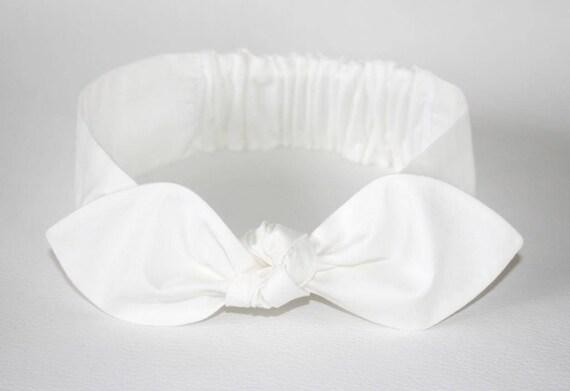 Organic White Knot headband Womens Headband Adult Headband  cdb3b8ada48