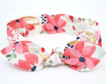 Red Floral Organic Cotton Baby Girl Headband, Adjustable Knot Headband, Flower Print Hair Bow
