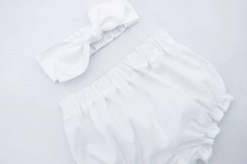 Baby Knot Headband Newborn Bloomers Newborn Outfit Baby Girl Headband Baby Bloomers Baby Girl Clothing Organic White Baby Bloomers