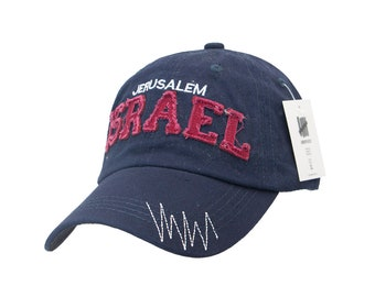 60ca028ff66 Israel Jerusalem Hat in Dark Blue and Red Colors Unisex Embroidery