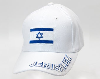 4bc13d12e39 Jerusalem Hat in White Color Unisex Israel Flag Embroidery