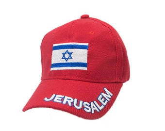 998b1a3e9bb Jerusalem Hat in Red Color Unisex Israel Flag Embroidery
