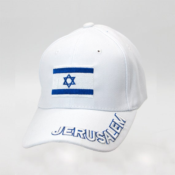 99e91903c06 Jerusalem Hat in White Color Unisex Israel Flag Embroidery