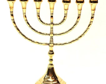 High Quality Menorah Gold Plated From Holy Land H/30 cm x W/26 cm