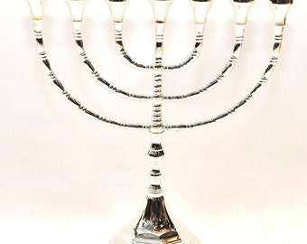 High Quality Menorah Silver Plated From Holy Land H/30 cm x W/27 cm