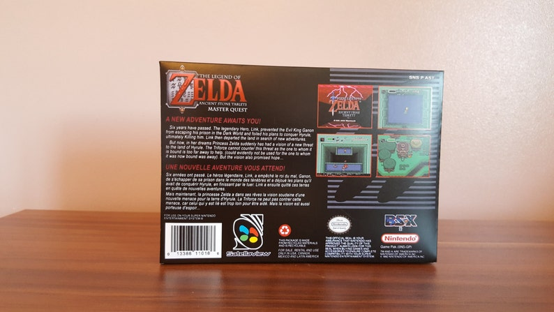 SNES The Legend of Zelda Ancient Stone Tablets - ROM HACK Box No Game  Included
