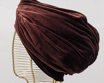 Velvet turban; Velvet headwap; Vintage style self wrap turban