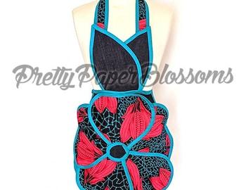 Vintage inspired apron; Denim apron; Ankara apron ; Flower apron