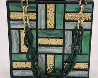 Green acrylic clutch; Vintage inspired box clutch; Square evening bag