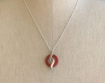 Vintage Unique Circular Red Jade Pendant with  925 Sterling Silver Wave Design on 925 silver petite Figaro chain 18 inch