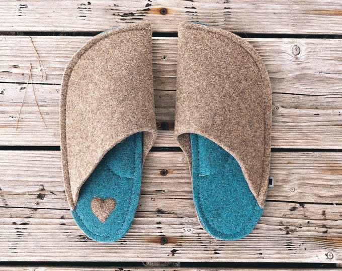 Tan Brown and Azure Blue (with Heart Patch)