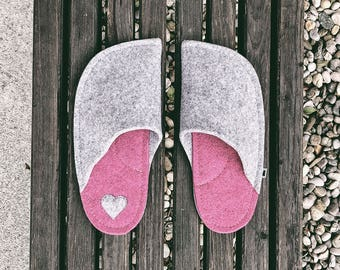 Light Gray and Vivacious Pink (Heart Patch)