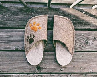 Tan Brown and Cream White Combination with Two Dog Paw Patches
