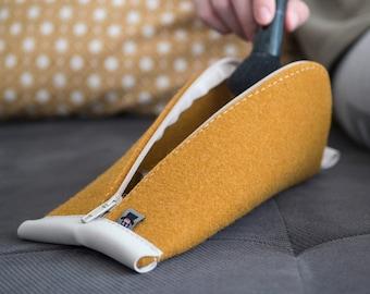 Curcuma Yellow Wool Felt, Light Gray Vegan Leather