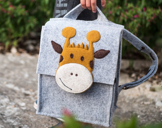 Light Gray Kids' Backpack (Giraffe)