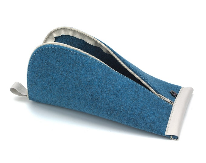 Azure Blue Wool Felt, Light Gray Vegan Leather