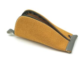 Curcuma Yellow Wool Felt, Dark Gray Vegan Leather