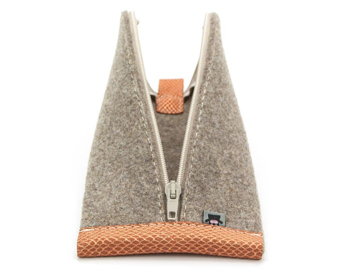 Tan Brown Wool Felt, Glittering Orange Leather, Beige Zipper