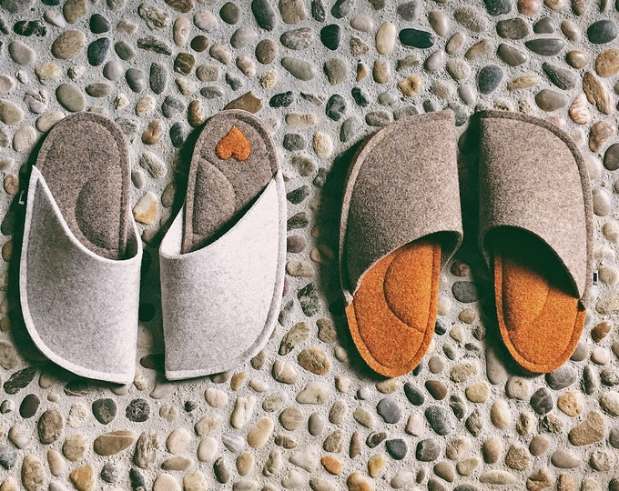 House Slippers - Felt Home Slippers - Wool Slippers