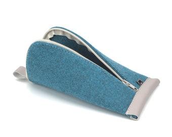 Azure Blue Wool Felt, Tan Brown Vegan Leather