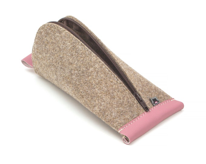 Tan Brown Wool Felt, Pink Vegan Leather