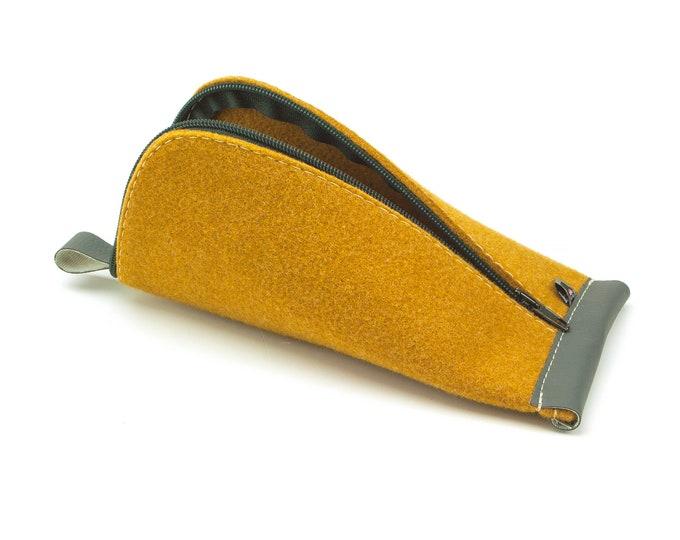 Curcuma Yellow Wool Felt, Dark Gray Artificial Leather