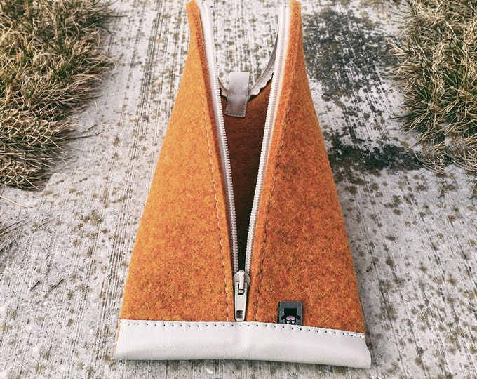 Orange Wool Felt, Light Gray Leather